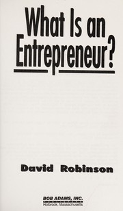 Cover of: What is an entrepreneur?