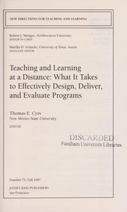 Cover of: Teaching and learning at a distance