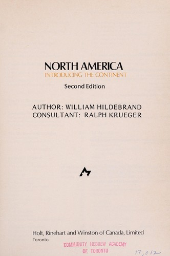 North America by William Hildebrand, Ralph Krueger