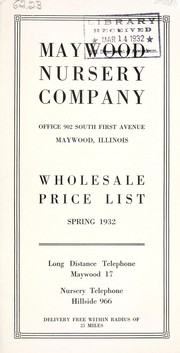 Cover of: Wholesale price list | Maywood Nursery Company