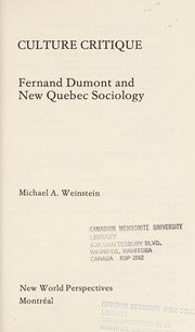 Cover of: Culture critique | Michael A. Weinstein