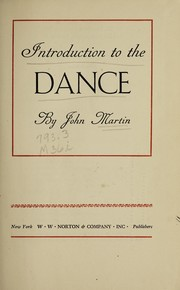 Cover of: Introduction to the dance