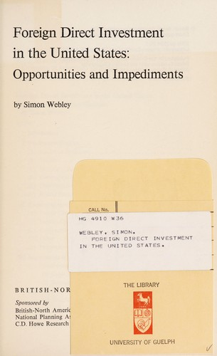 Foreign direct investment in the United States by Simon Webley