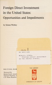 Cover of: Foreign direct investment in the United States | Simon Webley
