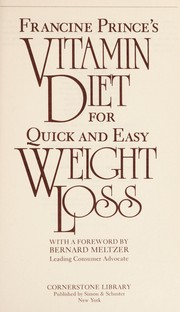 Cover of: Francine Prince's Vitamin diet for quick and easy weight loss | Francine Prince