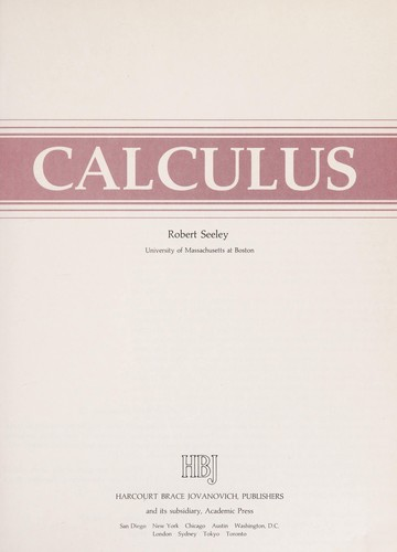 Calculus by Robert T. Seeley