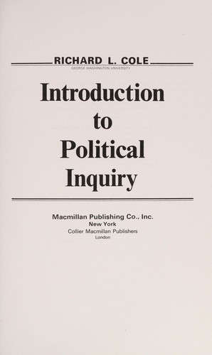 Introduction to political inquiry by Richard L. Cole