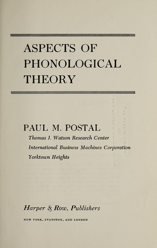 Aspects of phonological theory by Paul Martin Postal