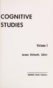 Cover of: Cognitive Studies Volume 1 | Jerome Hellmuth