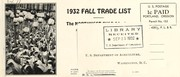 Cover of: 1932 fall trade list