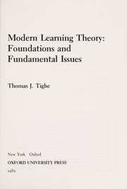 Cover of: Modern learning theory | Thomas J. Tighe