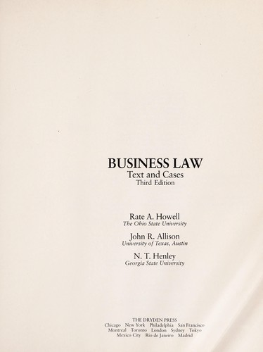 Business law by RateA Howell