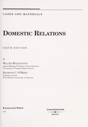 Cover of: Domestic relations | Walter Wadlington