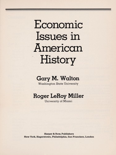 Economic issues in American history by Gary M. Walton