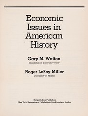 Cover of: Economic issues in American history | Gary M. Walton
