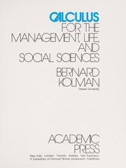 Cover of: Calculus for the management, life, and social sciences