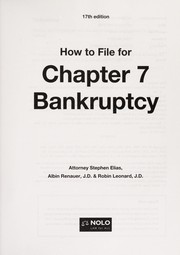Cover of: How to file for Chapter 7 bankruptcy | Stephen Elias