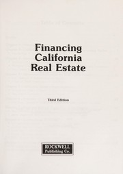 Cover of: Financing california real estate |