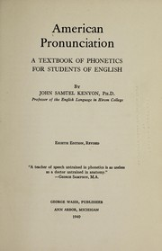 Cover of: American pronunciation | John Samuel Kenyon