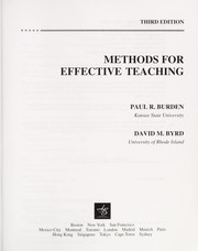 Cover of: Methods for effective teaching | Paul R. Burden