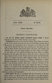 Cover of: Specification of Henry Stothert