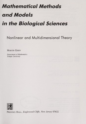 Mathematical methods and models in the biological sciences by Martin Eisen