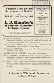 Cover of: Wholesale trade list for nurserymen and dealers for fall 1932 and spring 1933 | L.J. Rambo