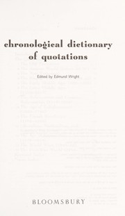 Cover of: Chronological dictionary of quotations |