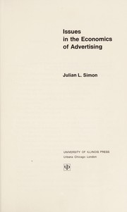 Cover of: Issues in the economics of advertising