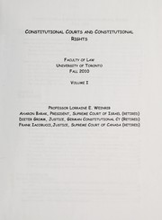 Cover of: Constitutional courts and constitutional rights | Lorraine Weinrib