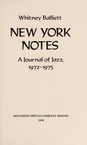 Cover of: New York notes