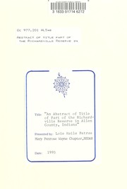 Cover of: Abstract of title of part of the Richardville Reserve in Allen County, Indiana. |