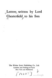Cover of: Letters written by Lord Chesterfield to his son