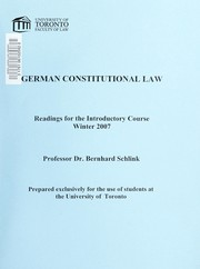 Cover of: German constitutional law |
