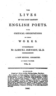 Cover of: the lives of the most eminent english poets with critical observations on ... |