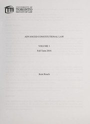 Cover of: Advanced constitutional law