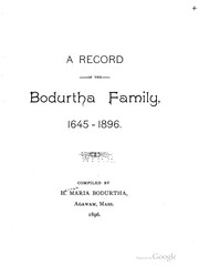 Cover of: Record of the Bodurtha family, 1645-1896