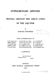 Cover of: Supplementary appendix to Travels amongst the great Andes of the Equator
