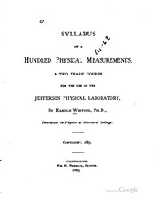 Cover of: Syllabus of a hundred physical measurements. | Harold Whiting
