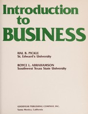 Cover of: Introduction to business | Hal B. Pickle