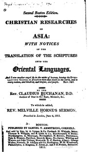 Cover of: Christian researches in Asia
