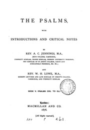 Cover of: The Psalms, with intr. and critical notes by A.C. Jennings assisted by W.H. Lowe |