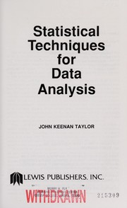 Cover of: Statistical techniques for data analysis