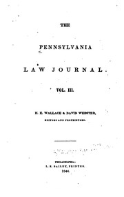 Cover of: Pennsylvania Law Journal |
