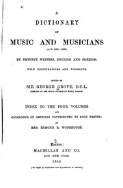 Cover of: A Dictionary of Music and Musicians: (A.D. 1450-1889)
