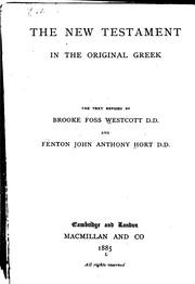 Cover of: The New Testament in the original Greek