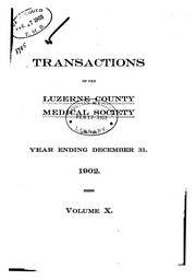 Cover of: Transactions of the Luzerne County Medidcal Society |