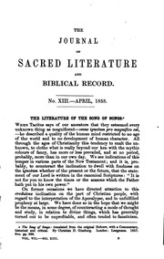 The Journal of Sacred Literature