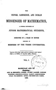 Cover of: The Oxford, Cambridge, and Dublin Messenger of Mathematics |