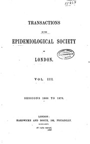 Cover of: Transactions of the Epidemiological Society of London ... |